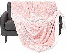 HOMESCAPES Blush Pink Velvet Throw 130 x 160 cm