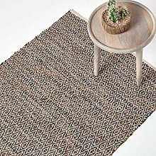 HOMESCAPES Brown Genuine Leather Rug Handwoven