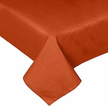 HOMESCAPES Burnt Orange Cotton Tablecloth 6 to 8