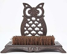 HOMESCAPES Cast Iron Boot Brush with Sitting Owl