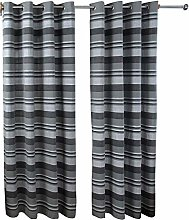 HOMESCAPES Charcoal Grey Eyelet Curtain Pair 137cm