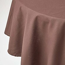 HOMESCAPES Chocolate Cotton Round Tablecloth 6 to