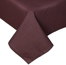 HOMESCAPES Chocolate Cotton Tablecloth 4 to 6