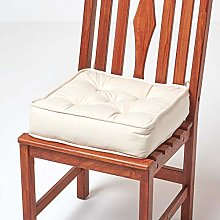 HOMESCAPES Cream Dining Chair Booster Cushion