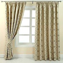 HOMESCAPES Cream Jacquard Pencil Pleat Curtain