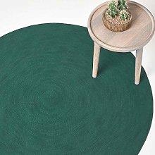 HOMESCAPES Dark Green Handmade Braided Round Rug