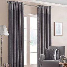 HOMESCAPES Dark Grey Curtains 168 x 137cm (66 x