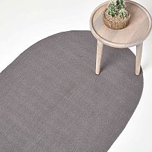 HOMESCAPES Dark Grey Handmade Braided Oval Rug For