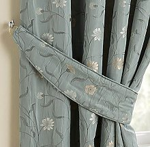 HOMESCAPES Duck Egg Blue Jacquard Curtain Tie
