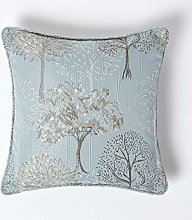 HOMESCAPES Duck Egg Blue Jacquard Cushion Cover