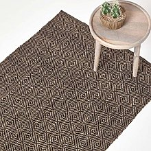 HOMESCAPES Extra Large Modern Jute Rug Black and