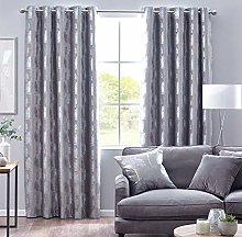 HOMESCAPES Fully Lined Silver Grey Curtains 229 x