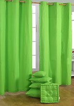 HOMESCAPES Green Eyelet Curtain Pair 137cm