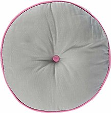 HOMESCAPES Grey and Pink Round Floor Cushion Large