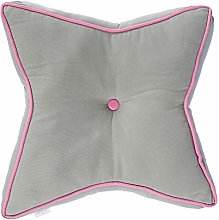 HOMESCAPES Grey and Pink Star Floor Cushion Large