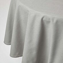 HOMESCAPES Grey Cotton Round Tablecloth 6 to 8