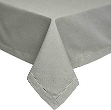 HOMESCAPES Grey Cotton Tablecloth 4 to 6 Seater