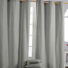 HOMESCAPES Grey Eyelet Curtain Pair 137cm