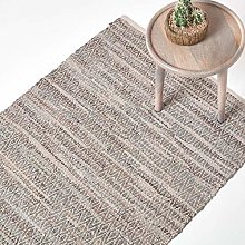 HOMESCAPES Grey Genuine Leather Rug Handwoven