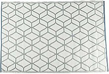 HOMESCAPES Grey Geometric Indoor & Outdoor Rug for