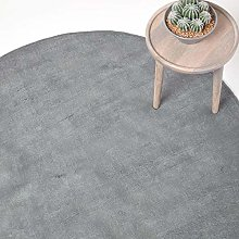 Homescapes Grey Round Cotton Tufted Rug 70 cm