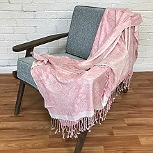 HOMESCAPES Handwoven Jaquard Throw in Traditional