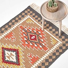 HOMESCAPES Jaipur Handwoven Kilim Wool Rug,