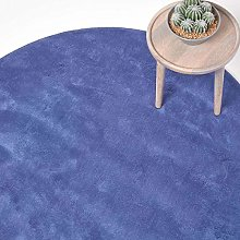 HOMESCAPES Large Blue Round Cotton Tufted Rug 150