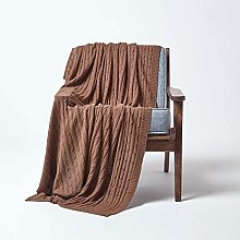 HOMESCAPES Large Brown Cable Knit Throw 150 x 200