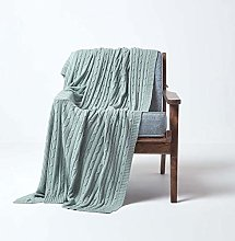 HOMESCAPES Large Duck Egg Blue Cable Knit Throw