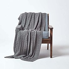 HOMESCAPES Large Grey Cable Knit Throw 150 x 200