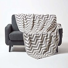 HOMESCAPES Large Grey Knitted Throw Soft Cotton