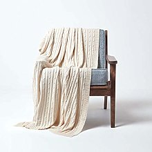 HOMESCAPES Large Natural Cable Knit Throw 150 x