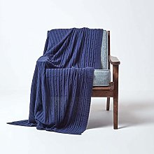 HOMESCAPES Large Navy Cable Knit Throw 150 x 200