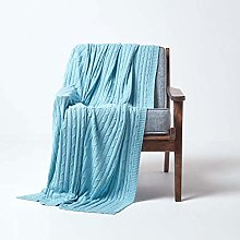 HOMESCAPES Large Pastel Blue Cable Knit Throw 150