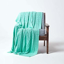 HOMESCAPES Large Pastel Green Cable Knit Throw 150