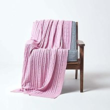 HOMESCAPES Large Pastel Pink Cable Knit Throw 150