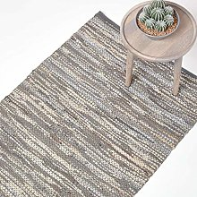 HOMESCAPES Leather Rug Denver Grey 90x150cm