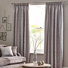 HOMESCAPES Light Grey Fully Lined Curtains 117 x