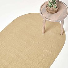 HOMESCAPES Linen Handmade Braided Oval Rug For