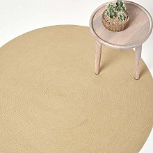 HOMESCAPES Linen Handmade Braided Round Rug For