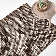 HOMESCAPES - Madras Leather Hemp Rug - Brown - 5 x