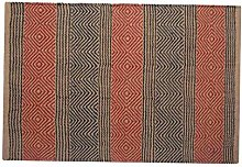 HOMESCAPES Modern Jute Floor Runner Rug Red and