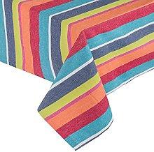 HOMESCAPES Multi Stripe Cotton Tablecloth 4 to 6