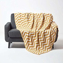 HOMESCAPES Mustard Knitted Throw Soft Cotton