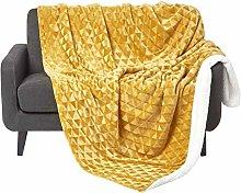 HOMESCAPES Mustard Velvet Throw 130 x 160 cm Soft