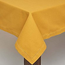 HOMESCAPES Mustard Yellow Cotton Round Tablecloth