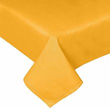 HOMESCAPES Mustard Yellow Cotton Tablecloth 6 to 8