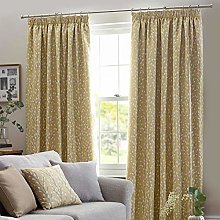 HOMESCAPES Mustard Yellow Fully Lined Curtains 229