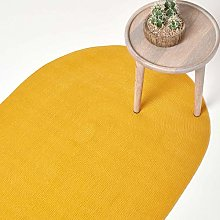 HOMESCAPES Mustard Yellow Handmade Braided Oval